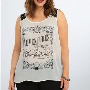 Alice in Wonderland White and Black Chiffon Tank